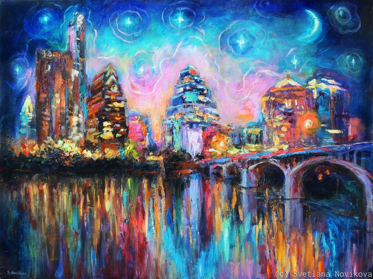Impressionistic Austin city skyline Painting Svetlana Novikova (large view)