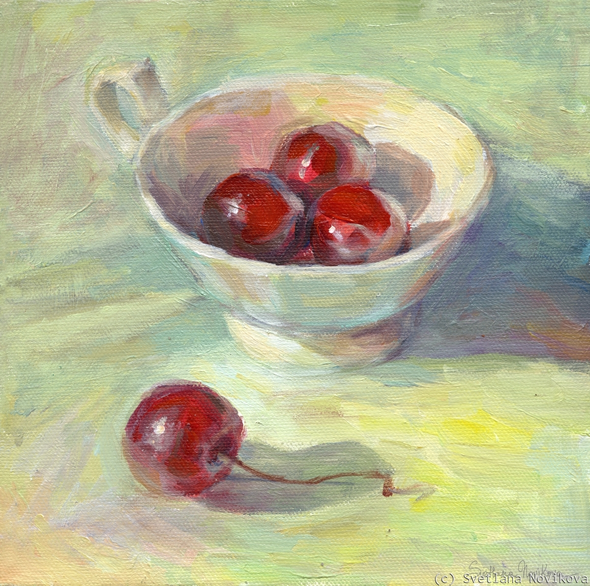 Colorful cherry in a cup painting in acrylics by Svetlana Novikova (large view)