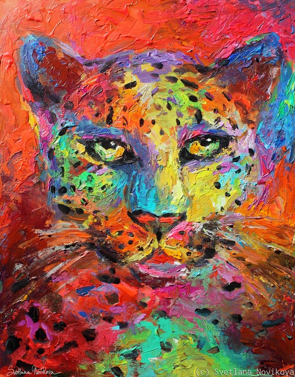 Expressionistic Leopard painting Svetlana Novikova (large view)
