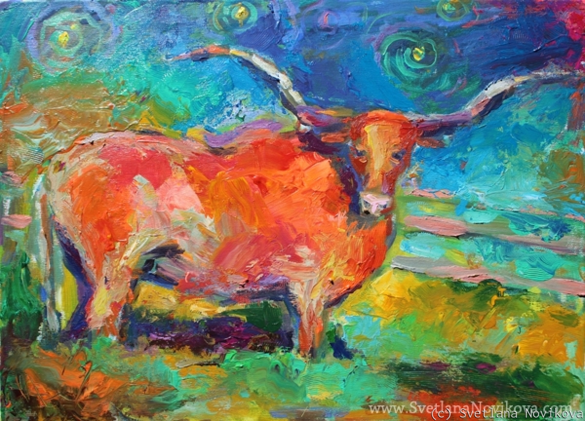 Colorful Longhorn bull painting Svetlana Novikova (large view)