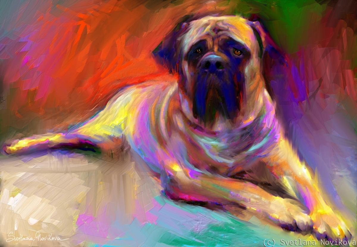 English Bull Mastiff dog painting print Svetlana Novikova (large view)