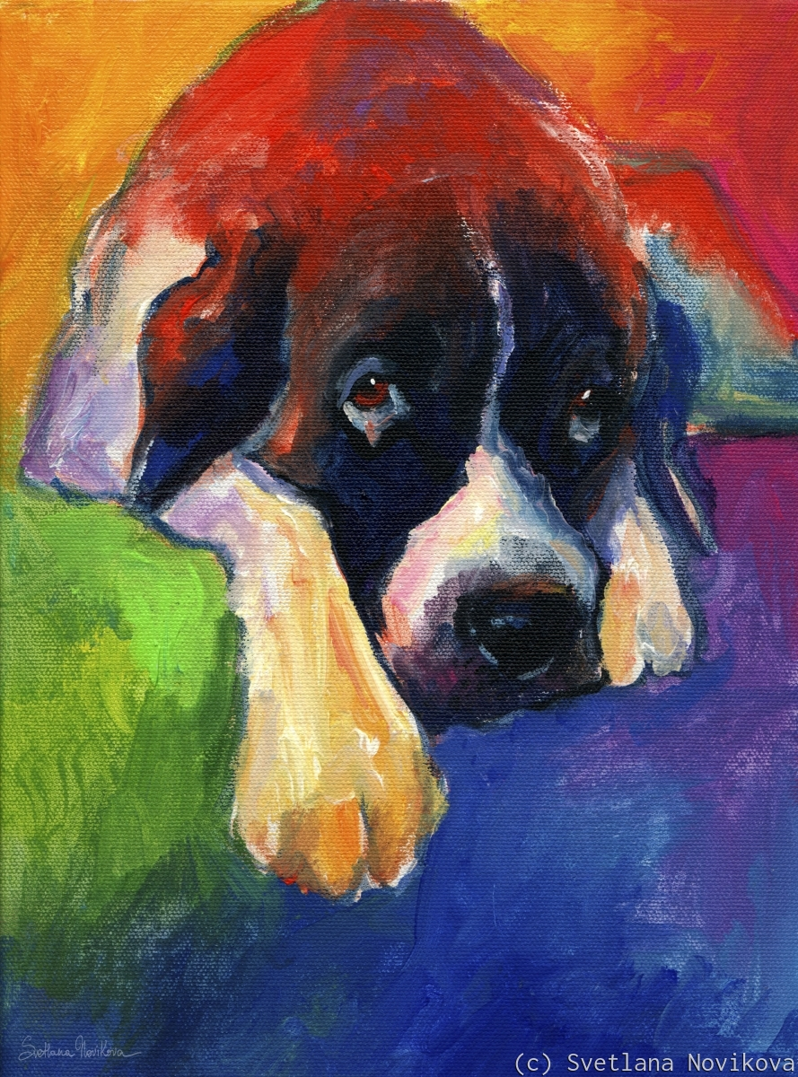 This colorful Saint Bernard Dog portrait print would make a great gift for any dog lover.  Painted with acrylics on canvas by Russian impressionistic artist Svetlana Novikova (large view)