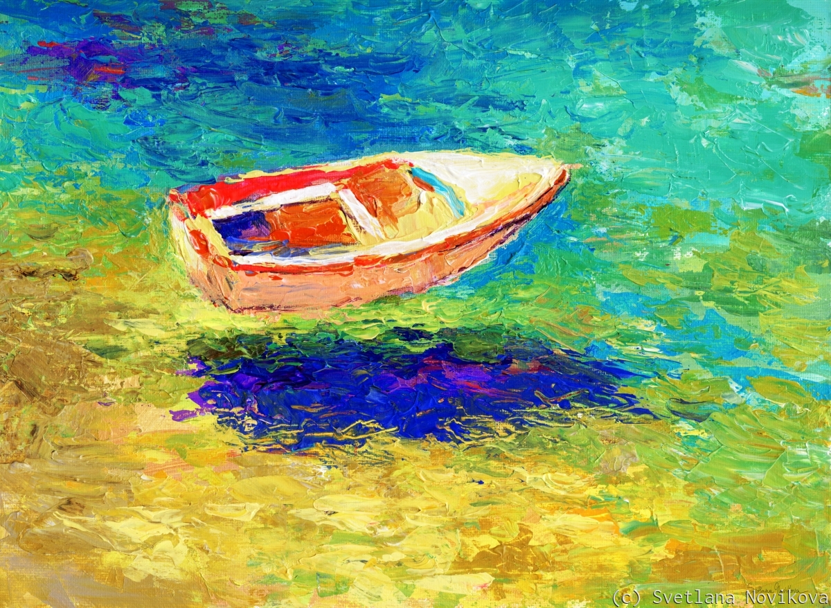 Colorful impressionistic boat in the ocean original painting by Svetlana Novikova (large view)