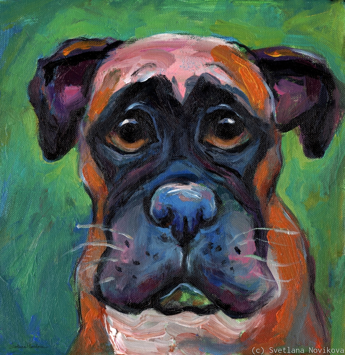 Cute Boxer puppy dog with big eyes painting (large view)