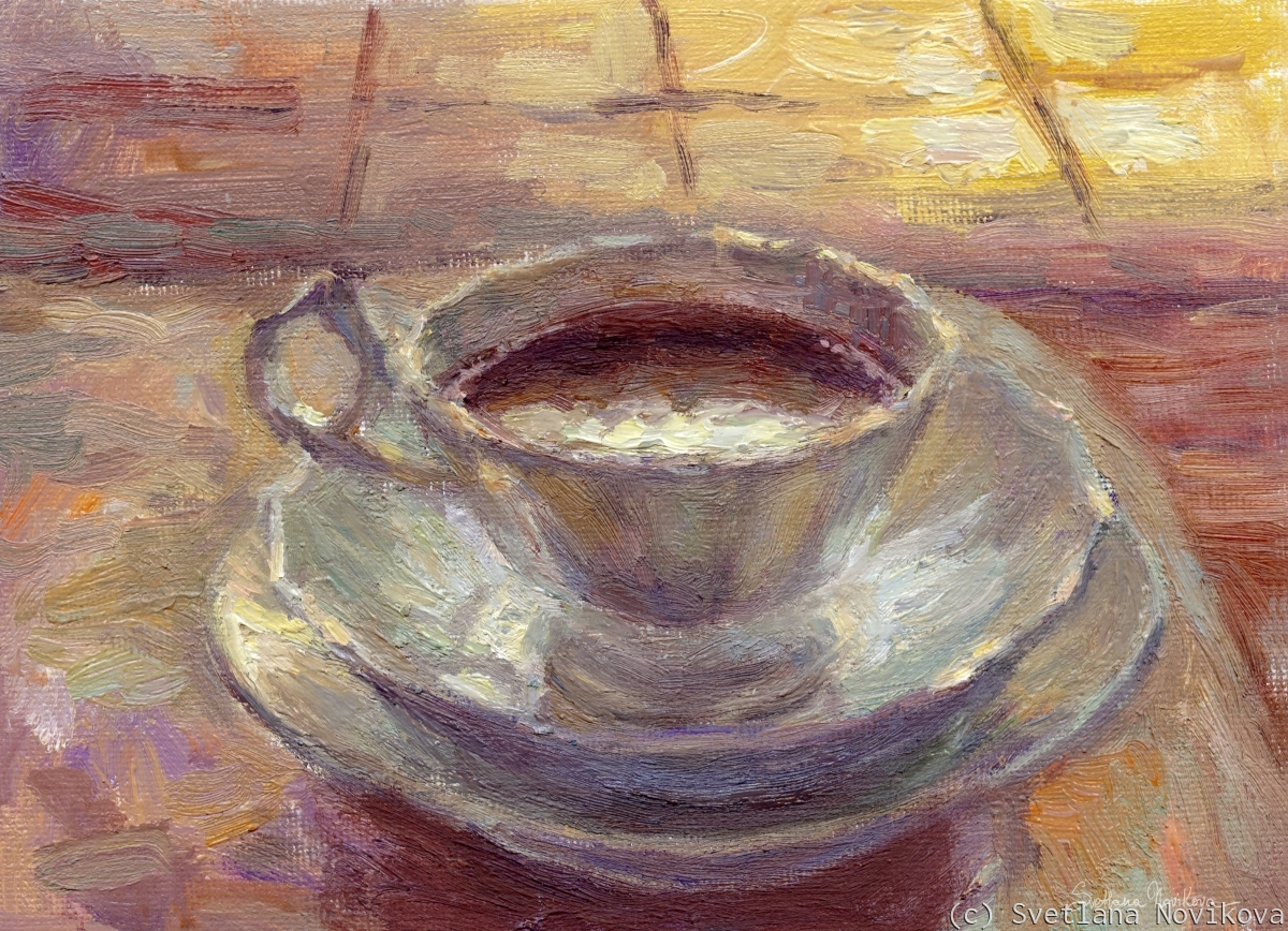 Impressionistic painting of a cozy coffee cup still life in the morning by Svetlana Novikova (large view)