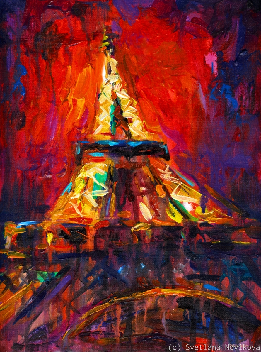 Colorful Eiffel tower at night original painting done in an impressionisti style with bold brush strokes by Svetlana Novikova (large view)