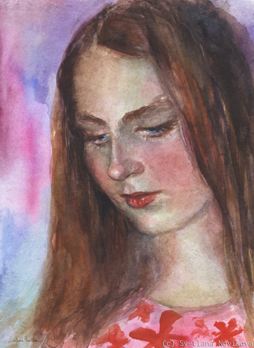 Young woman watercolor original painting (large view)