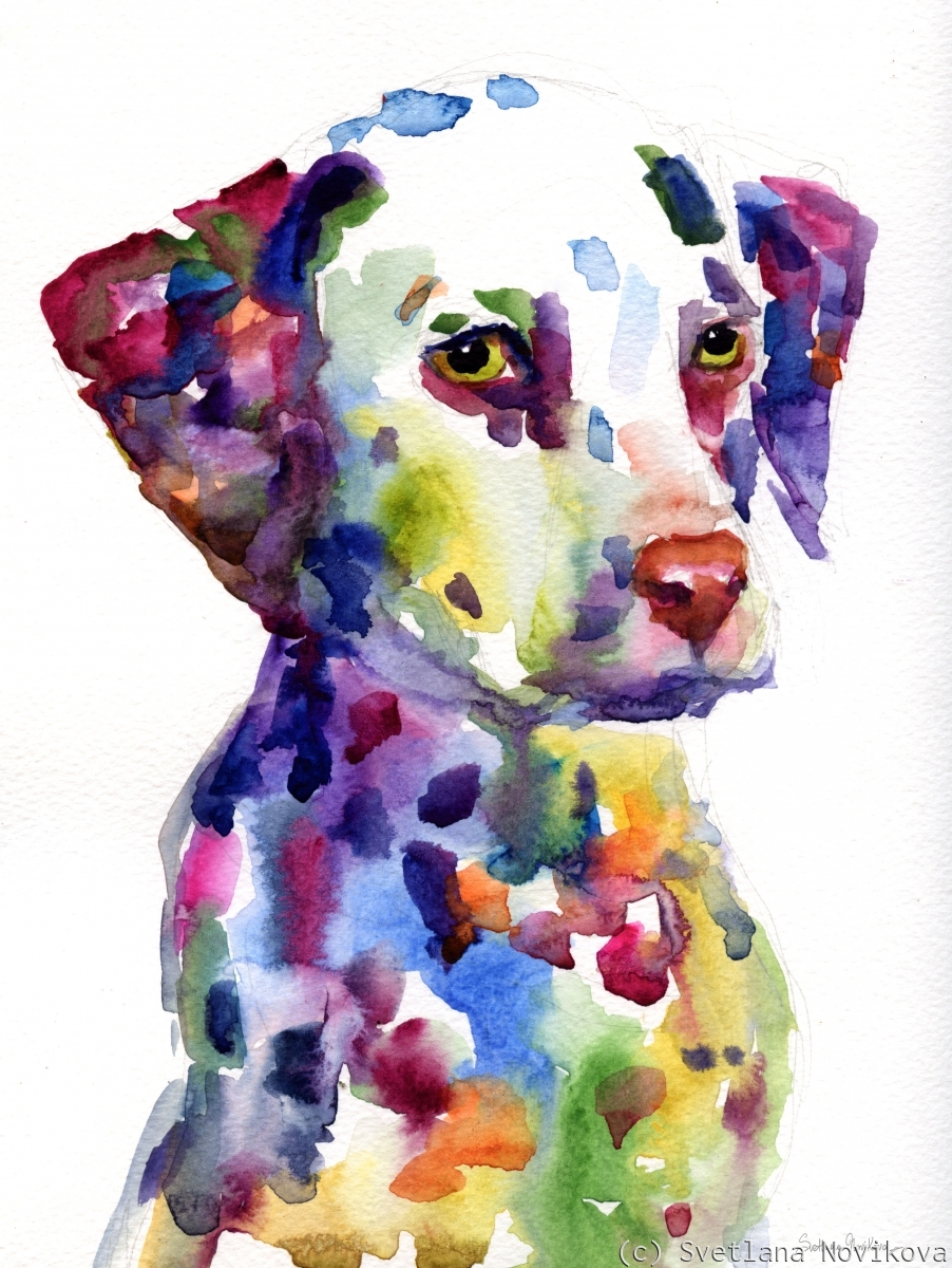 Dalmatian Dog puppy watercolor painting (large view)