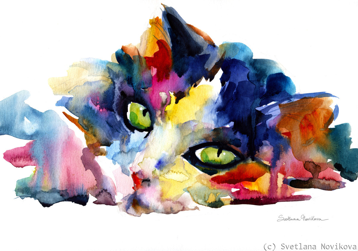 Watercolor Cat Colorful painting (large view)