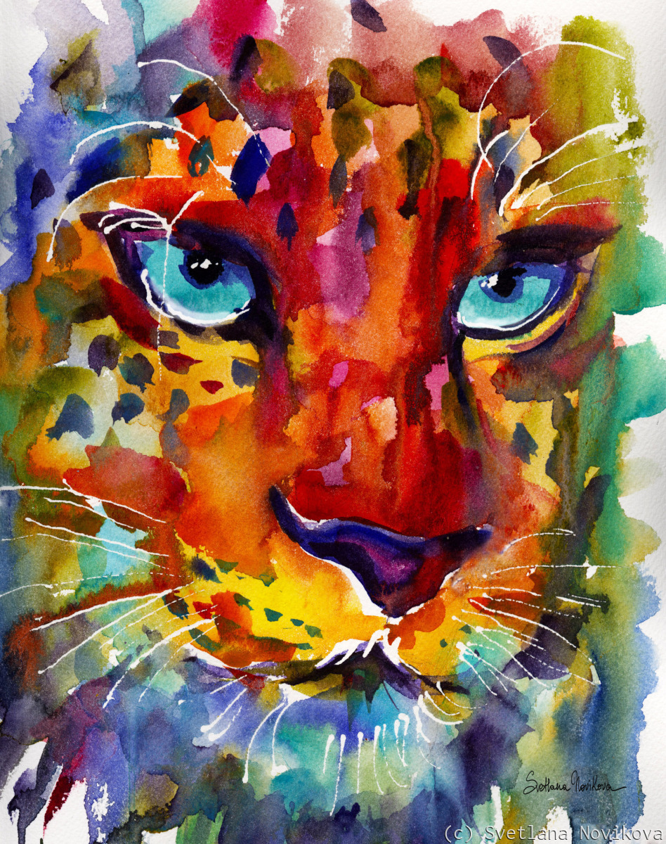 Colorful Leopard Watercolor painting (large view)