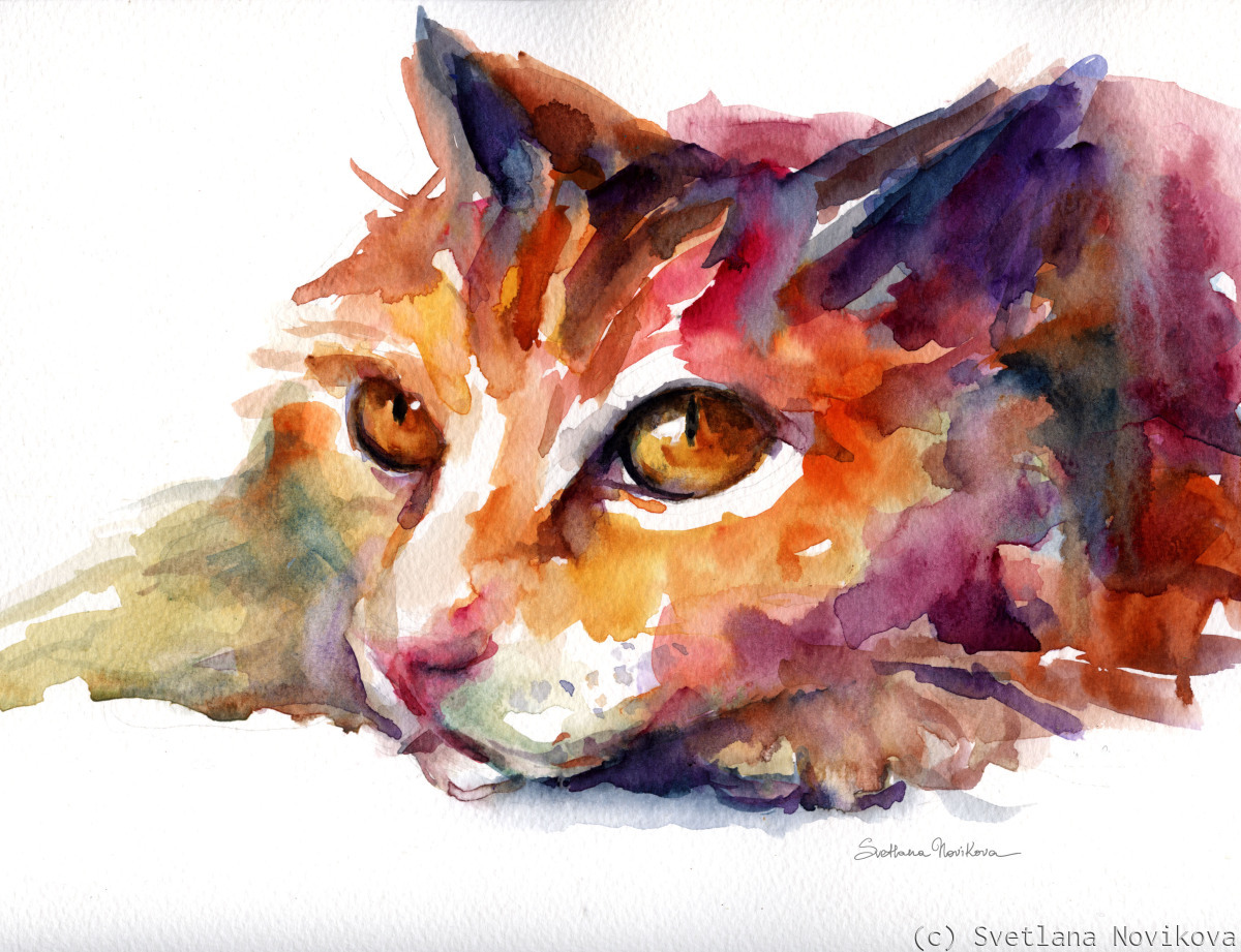 Orange Tubby Cat watercolor painting (large view)