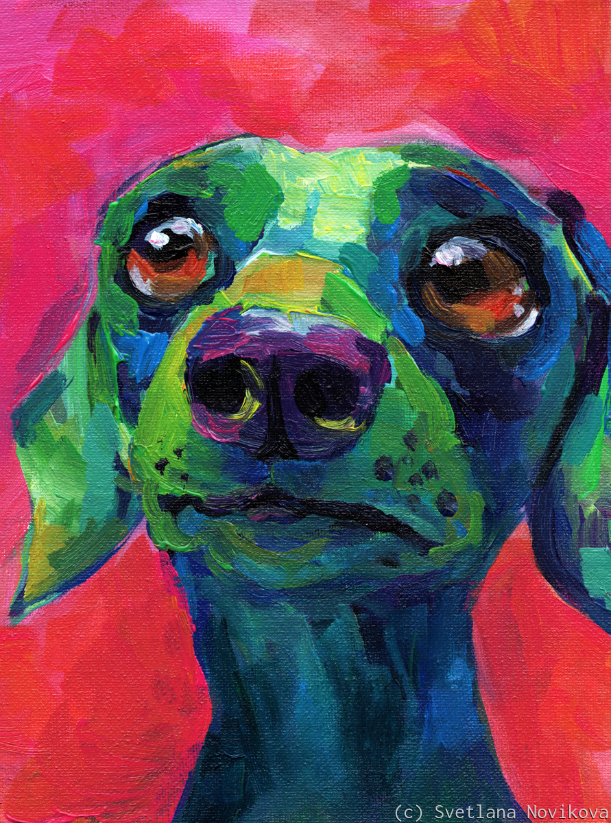 Whimsical dachshund dog pop art painting (large view)