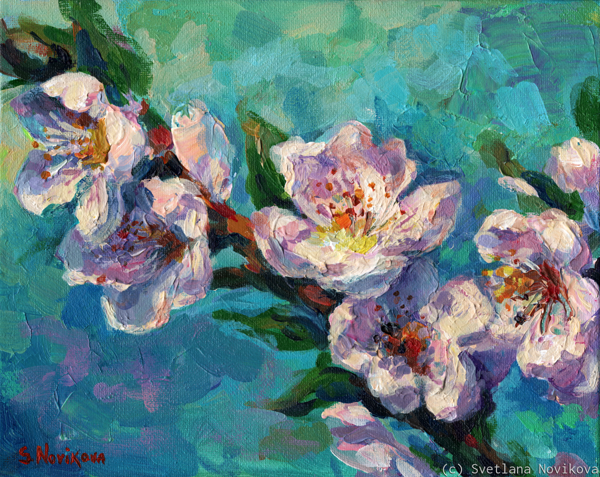 Peach Blossoms flowers painting (large view)