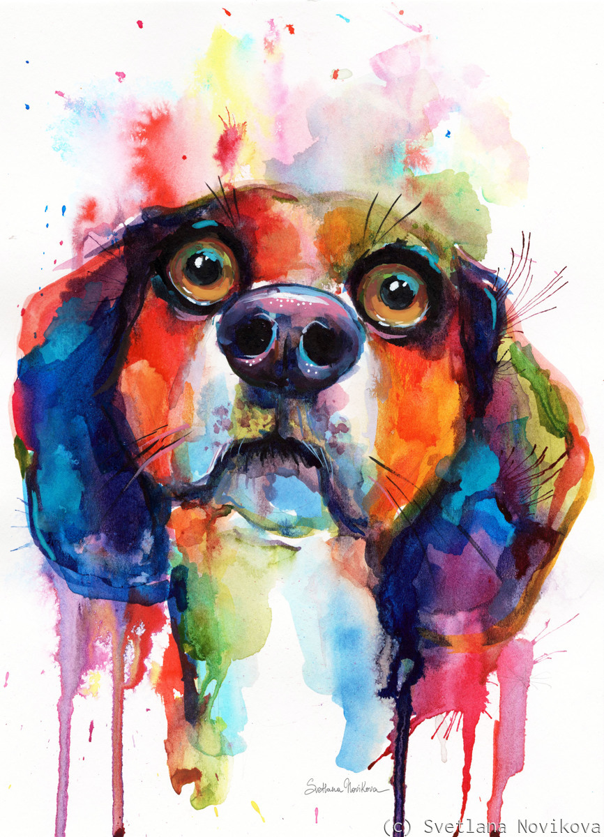 Colorful Beagle dog painting by Svetlana Novikova (large view)