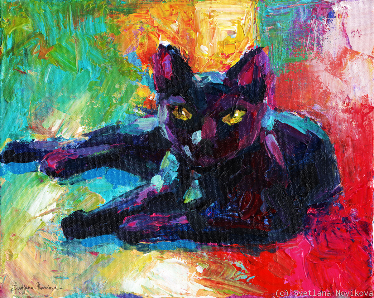 Impressionistic Black Cat painting (large view)