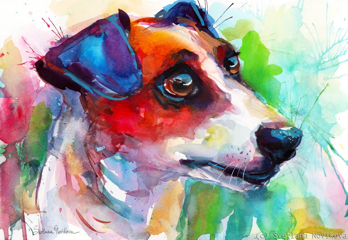 Colorful Jack Russell dog painting (large view)