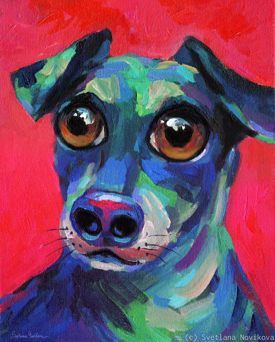 Funny Wiener Dachshund dog painting 2 (large view)