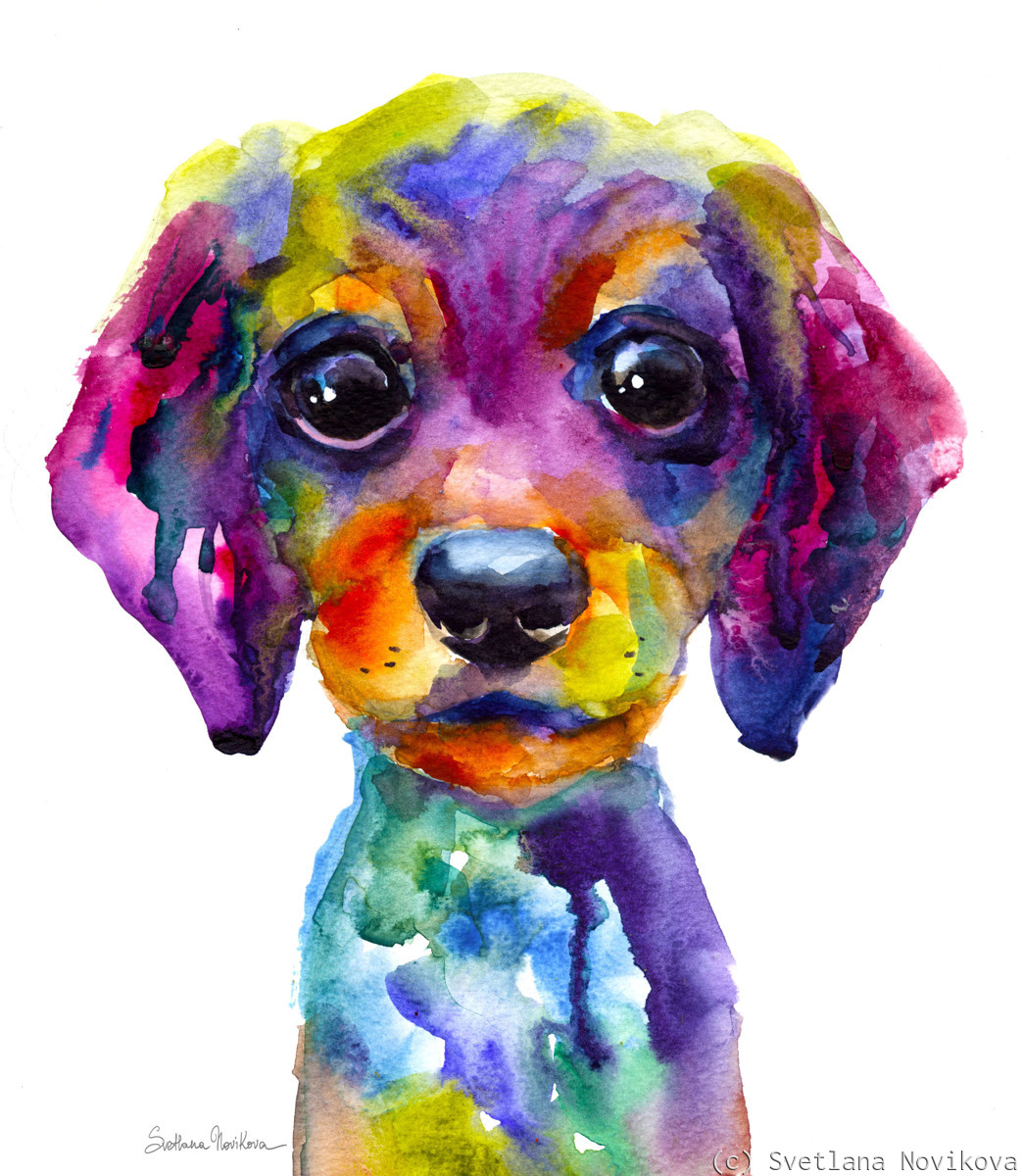 Colorful Dachshund wiener dog painting (large view)