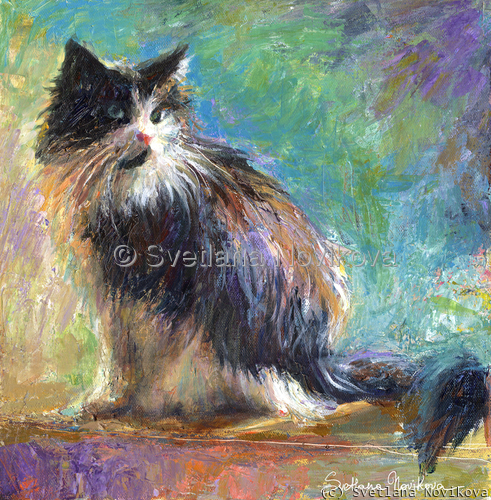 Impressionistic Tuxedo Cat painting with colorful background and textured strokes painted on canvas with acrylics by Impressinist artist Svetlana Novikova (large view)