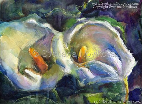 Original Pastel and watercolor Floral painting Svetlana Novikova (large view)
