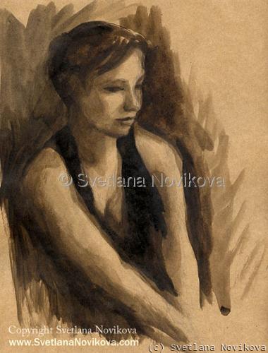 Original watercolor ink Woman Portrait Painting Svetlana Novikova (large view)