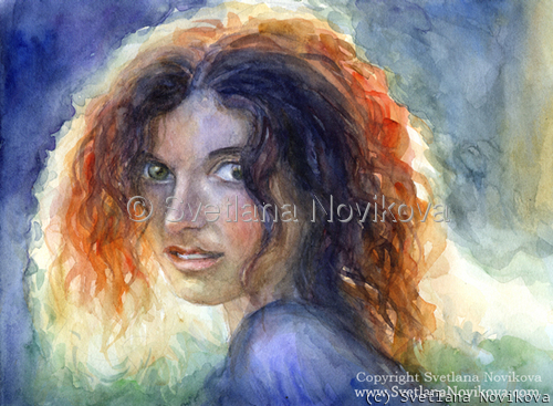 Original watercolor Woman portrait #3 painting Svetlana Novikova (large view)