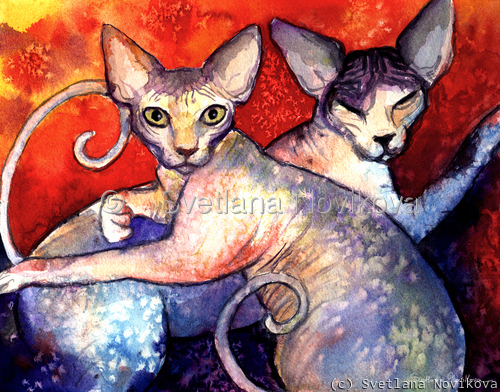 Two Sphynx Cats print painting Svetlana Novikova (large view)