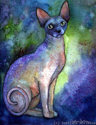 Sphynx Cat #2 painting print Svetlana Novikova (large view)