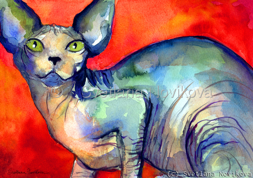 Sphynx Cat #6 painting Svetlana Novikova (large view)