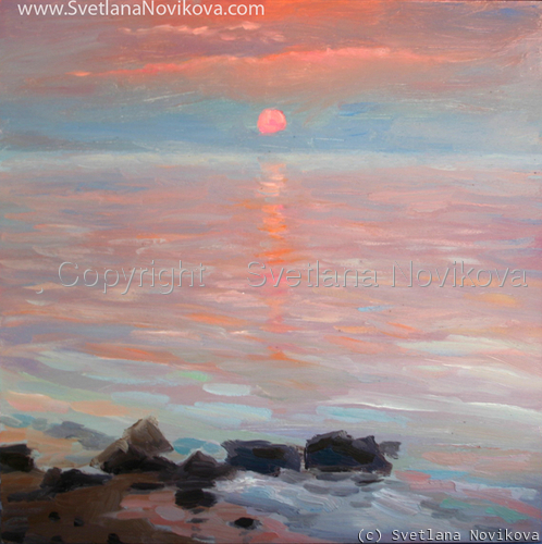Ocean scape Oil painting Svetlana Novikova sunset reflection (large view)