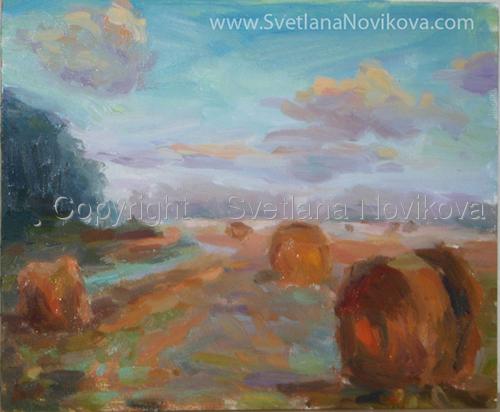 Hay field landscape painting Svetlana Novikova (large view)
