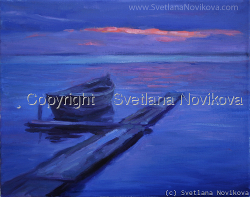 Tranquil seascape boat oil painting (large view)
