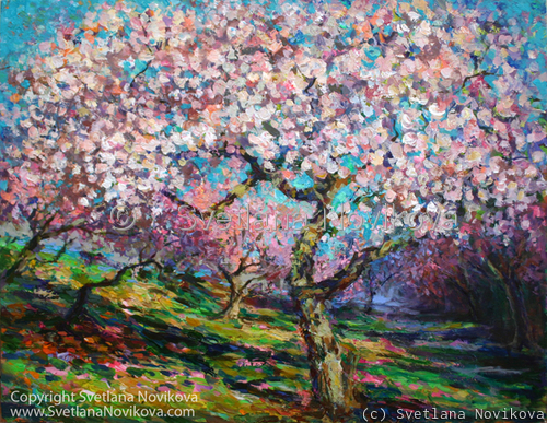 Impressionistic blossoming cherry tree landscapes painting by Svetlana Novikova (large view)