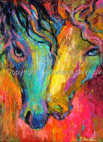 Impressionistic Horses painting Svetlana Novikova