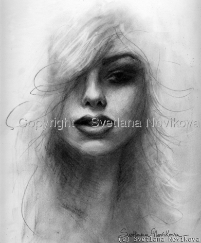 Charcoal portrait drawing of woman by russian artist Svetlana Novikova (large view)