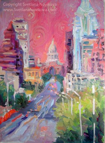 Austin City downtown cityscape oil painting  (large view)