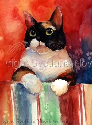 Calico cat watercolor art (large view)