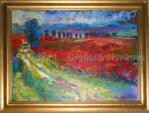 Tuscany landscape poppy field (large view)