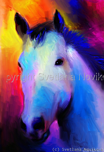 White Stallion Horse painting Giclee Print (large view)