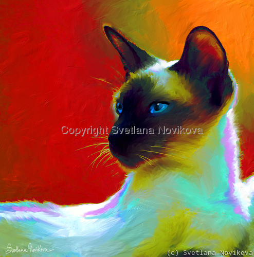 Siamese cat # 10 painting giclee print  (large view)