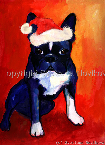 Christmas Boston Terrier Giclee print (large view)