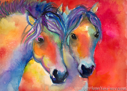 Two horses Giclee print (large view)
