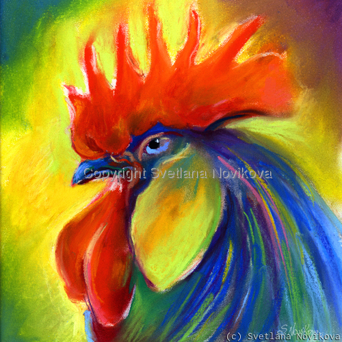 Bright Rooster art painting Giclee Print (large view)