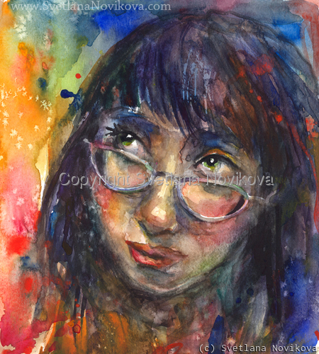 Watercolor painting girl study (large view)