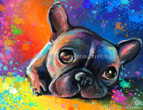 French Bulldog # 3 painting Giclee Print by   Svetlana Novikova Contemporary Fine Art