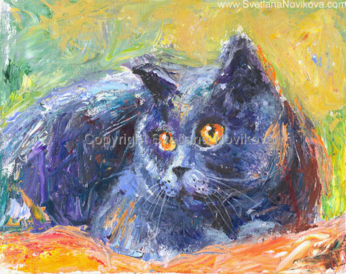 Blue Russian Cat painting (large view)