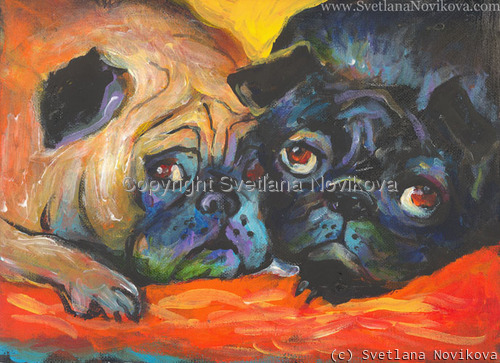 Pugs Original Painting (large view)