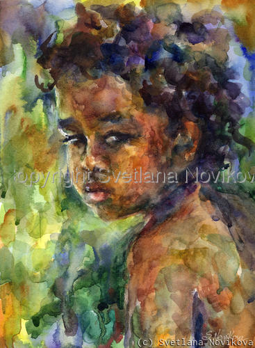Original Boy Watercolor painting portrait  (large view)