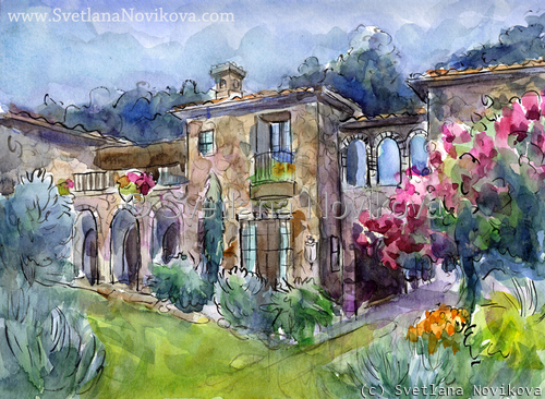 Austin Home house Portrait Watercolor and Ink (large view)
