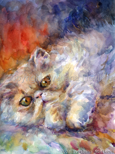 Watercolor Persian Cat portrait painting Novikova (large view)